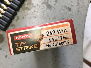 Norma  243 Tip Strike Varmint   Rifle Ammunition   Gun Mart